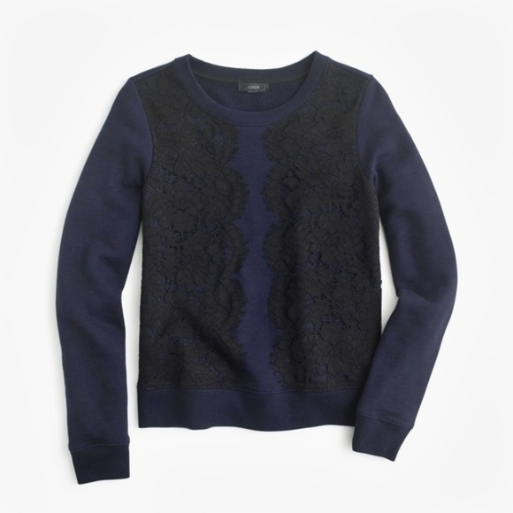 71afff532e80 J. Crew Sweaters | 109 J Crew Navy Blue Knit Sweater W Black Lace ...